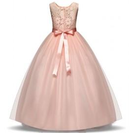 Koszorúslány ruha, gyönyörű tüllös alkalmi ruha -  púderrózsaszín ( új )