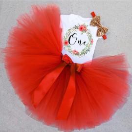 Születésnapi szett - tüll szoknyás babaruha fejpánttal egy éves fotózáshoz - piros és barackvirág színben ( új )