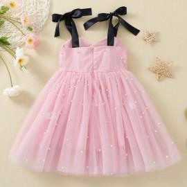 Rózsaszín, gyöngyös kislány alkalmi ruha fekete szalaggal, baba koszorúslány ruha ( új )