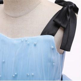 Babakék, gyöngyös kislány alkalmi ruha fekete szalaggal, baba koszorúslány ruha ( új )