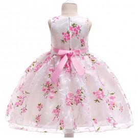 Virágos kislány alkalmi ruha, szatén anyagú baba koszorúslányruha ( új )