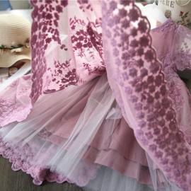 Csipkés koszorúslány ruha, babaruha fotózáshoz, babaruha különleges alkalmakra - mályva színű ( új )