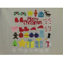 Díszíthető karácsonyfa, filc karácsonyfa, ledes égőkkel - 98 cm magas ( új )