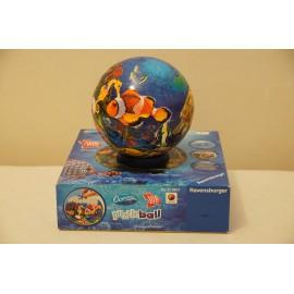 Ravensburger Színes óceán puzzle, 3D-s halas puzzle ball, 108 db-os óceánvilág gömb puzzle ( használt )