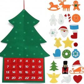 Ádventi naptár, filc karácsonyfa tépőzáras díszekkel ( új )